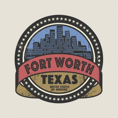 Grunge rubber stamp with name of Fort Worth, Texas