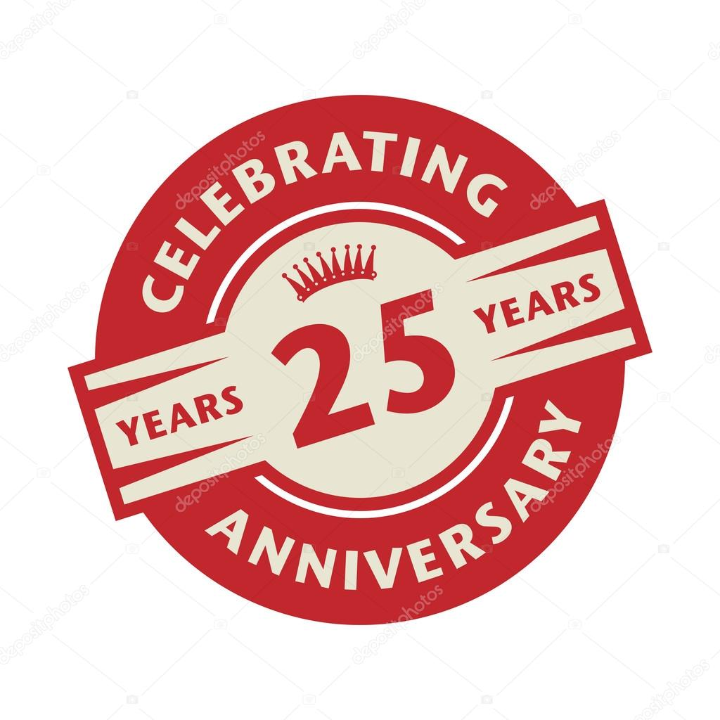 stamp with the text celebrating 25 years anniversary stock vector rh depositphotos com 25 year logos designs 25 years logo in marathi