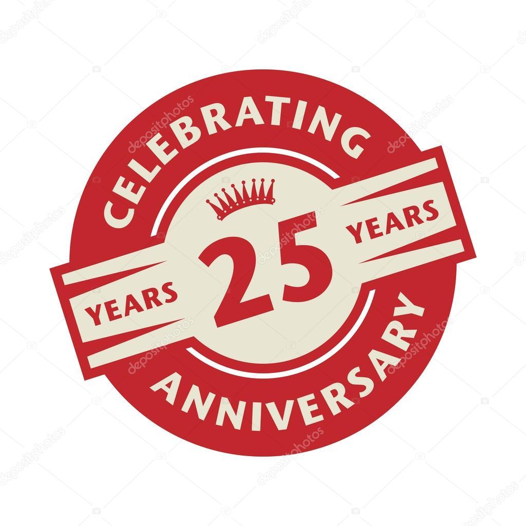 Stempel Met De Tekst Celebrating 25 Jaar Verjaardag Stockvector