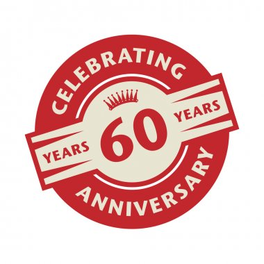 Stamp with the text Celebrating 60 years anniversary