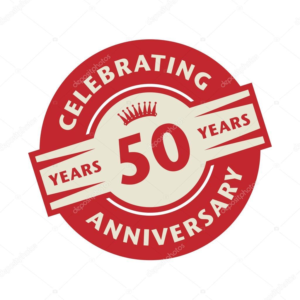 stempel 50 jaar Stempel met de tekst Celebrating 50 jaar verjaardag — Stockvector  stempel 50 jaar