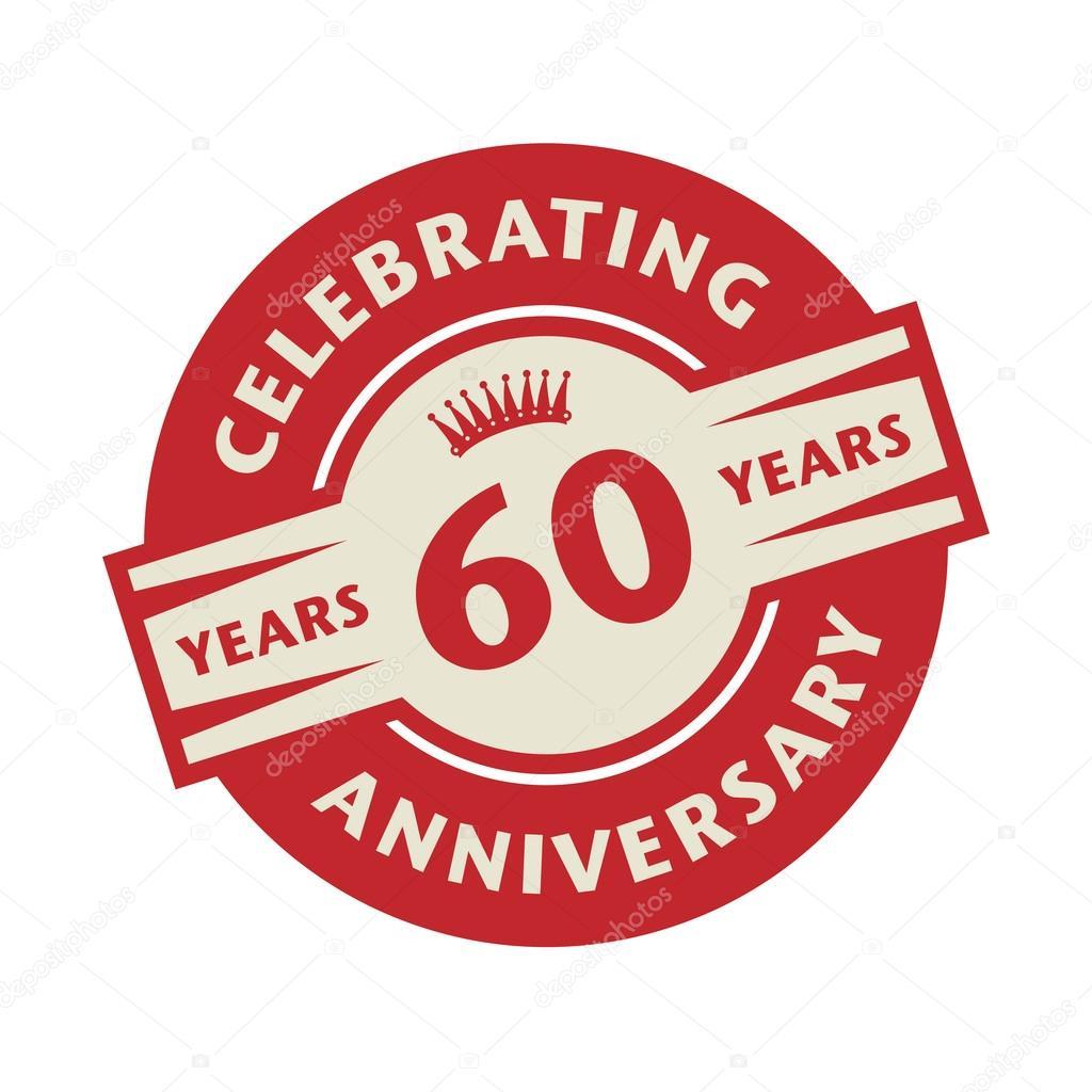 Timbre Avec Lanniversaire De 60 Ans Texte Celebrating