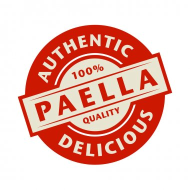 Abstract stamp or label with the text Authentic, Delicious Paell