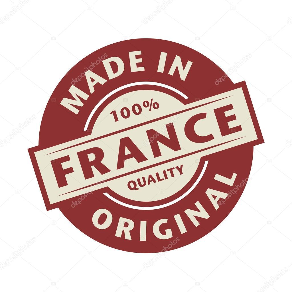 Sello de resumen con el texto hecho en Francia por escrito dentro de ...
