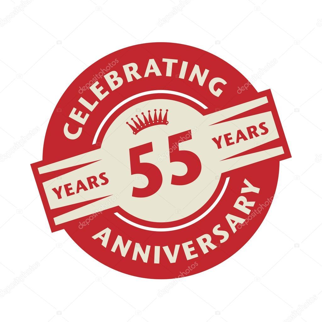 Stempel Of Label Met De Tekst Celebrating 55 Jaar Verjaardag