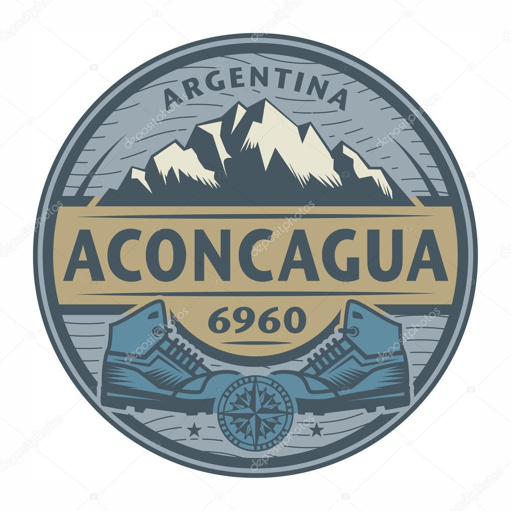 Stamp or emblem with text Aconcagua, Argentina