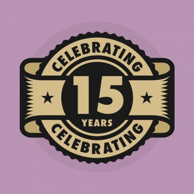 Stamp with the text Celebrating 15 years anniversary