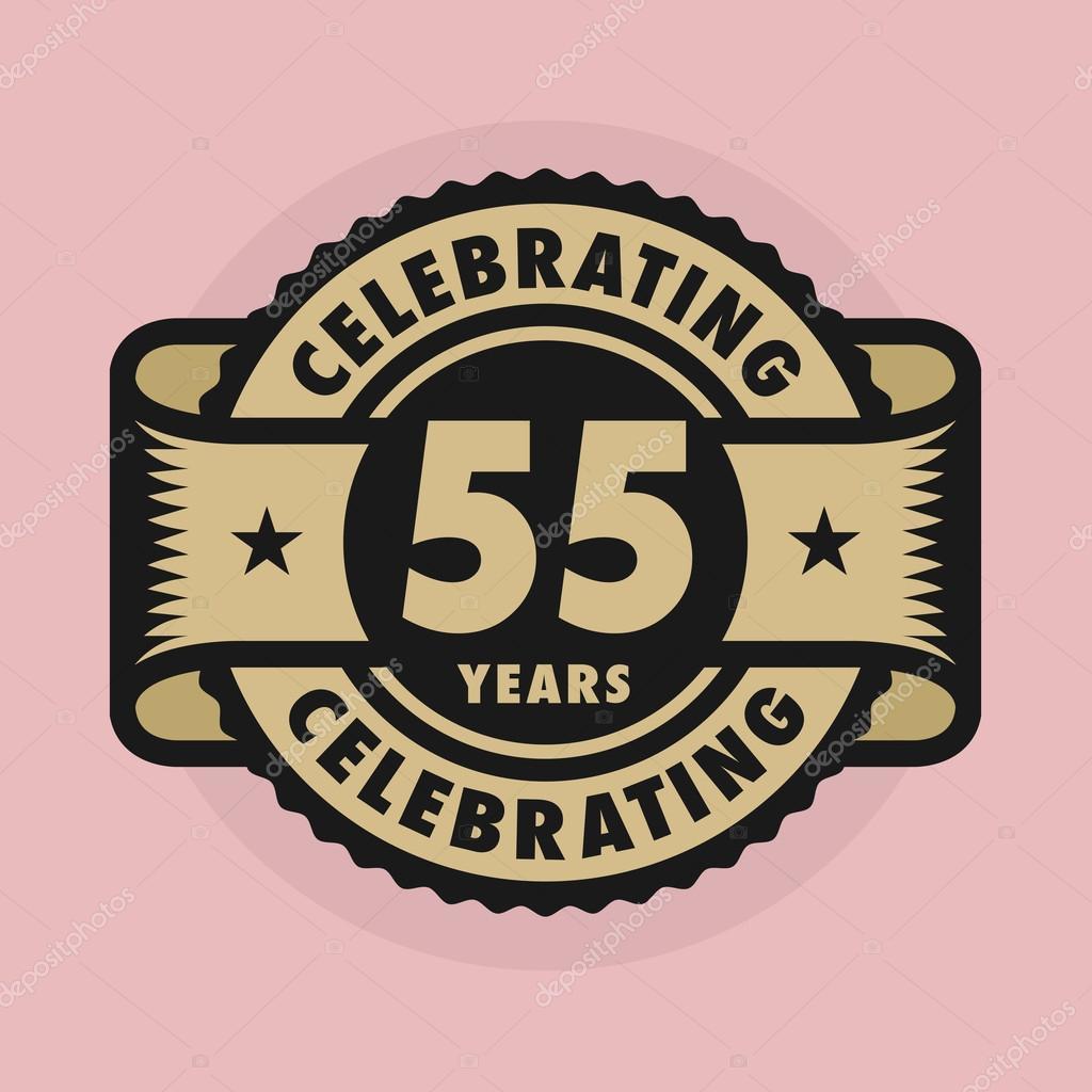 Stempel Met De Tekst Celebrating 55 Jaar Verjaardag Stockvector