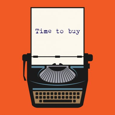Typewriter with text Time to buy