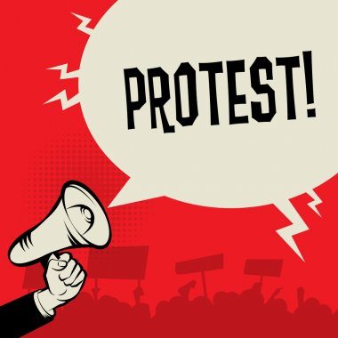Megaphone Hand, business concept with text Protest