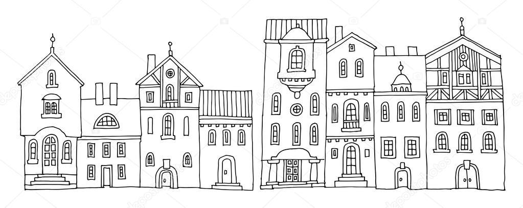 Cartoon hand tekenen van huizen stockvector fla 97931132 for Huizen tekenen