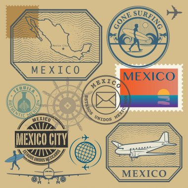 Travel stamps set, Mexico