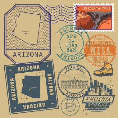 Stamp set with the name and map of Arizona, United States