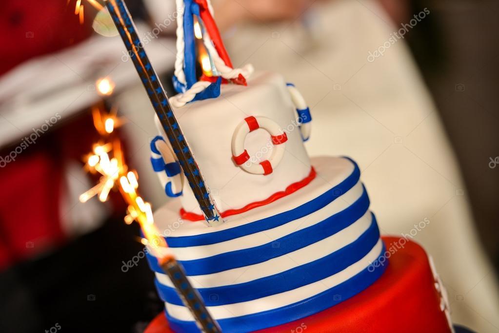 Gluckliche Tag Marine Hochzeitstorte Mit Roten Und Blauen Farben