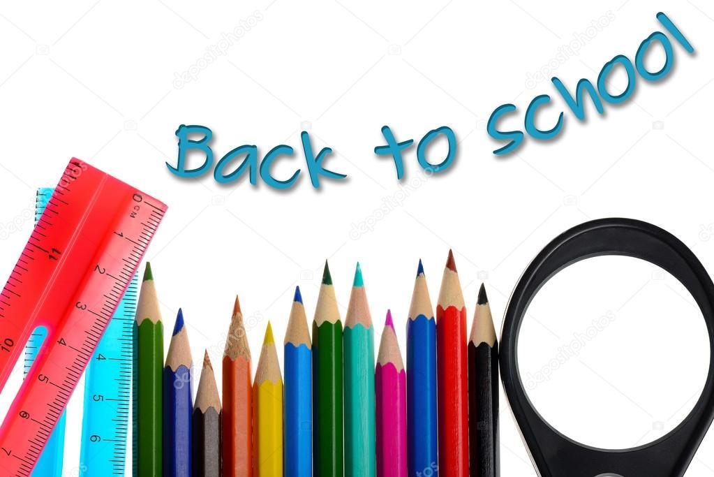 Regreso a la escuela - para colorear lápices de colores y regla ...