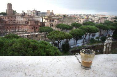 Beautiful view of Rome and cup with cafe latte