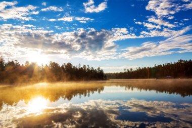 Beautiful colorful sunrise over Woods Canyon Lake in Payson, Arizona, USA stock vector