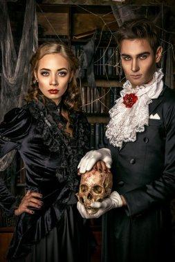 frightening couple. Halloween.