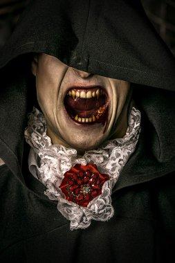 vampire grins. Halloween concept.