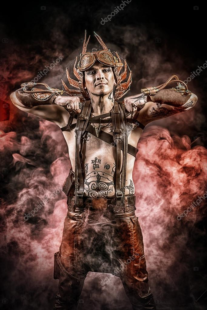 Hephaestus Fire Steampunk Man With A Mechanical Devices