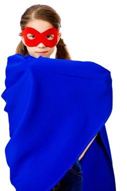 supergirl. Cute girl teenager in a costume of superhero.