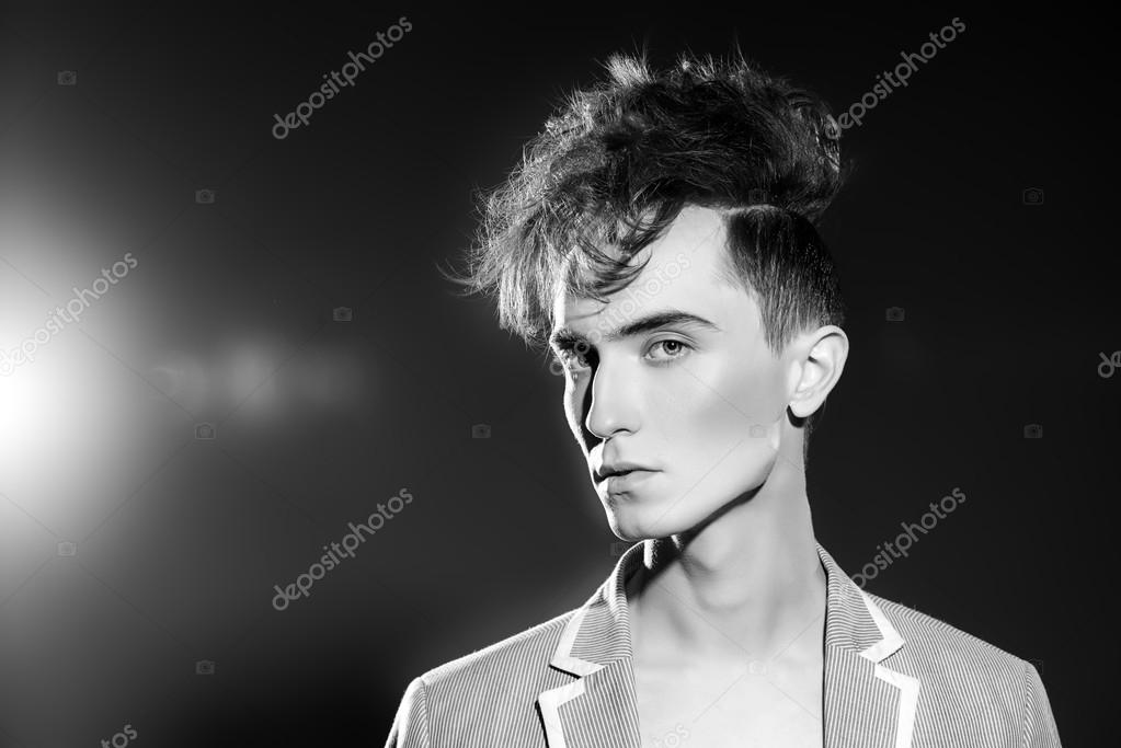 Black And White Portrait Of A Fashion Male Model With Stylish Upright Hair Beauty Photo By Prometeus