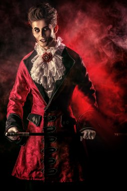 old legend. Halloween. Dracula costume.