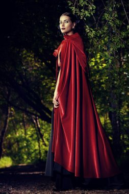 beauty in red cloak
