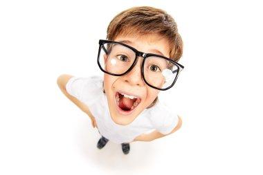 funny boy in glasses