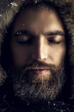 winter style, brutal man with beard