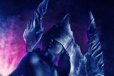 big horns. Halloween. Fantasy. Art project.