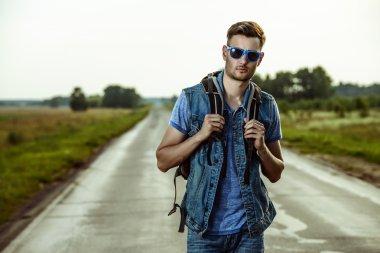 traveler man, highway.