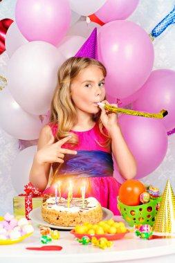 Cute happy child girl enjoys her birthday. Celebration, life events. Happy birthday. stock vector