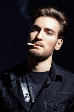 guy smoking. Men's beauty, fashion.