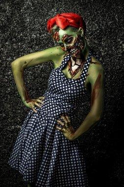 green skin. Halloween make-up.
