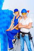 Fotografie Zwei Maler. Reparatur, Bau und Hypothekenkonzept.
