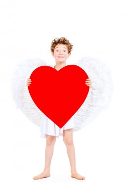 Portrait of a lovely little boy in a costume of angel. Cupid. Valentine's day. stock vector