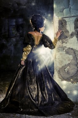 Art Fashion. Beautiful young woman in elegant historical dress and with barocco updo hairstyle posing in the ruins of the castle. Renaissance. Barocco. stock vector