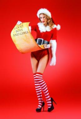 reading girl. Christmas time.