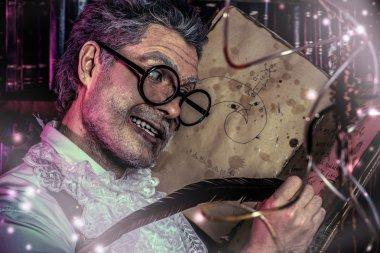 frightening scientist. Halloween.