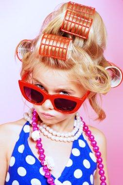 retro image. Kid's fashion, cosmetics.