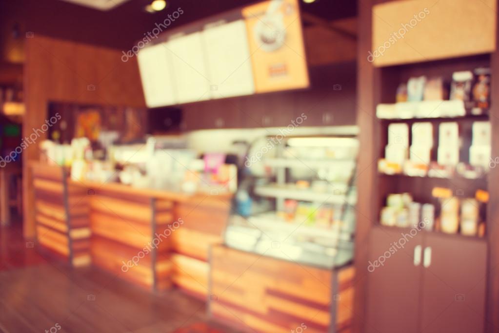 Blurry Of Coffee Shop Interior Design Vintage Process Tone