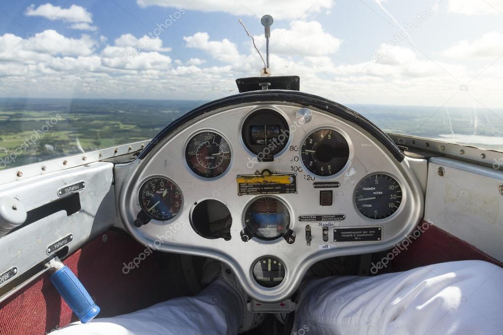 binnen mening van een zweefvliegtuig vliegtuig cockpit en