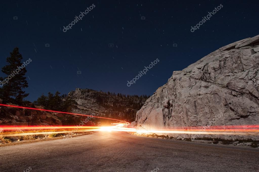 Traffic at Yosemite National park at night
