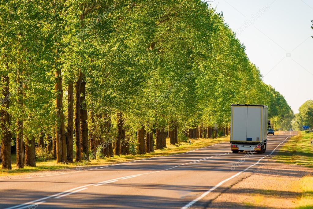 cargo truck driving on suburban highways in summer