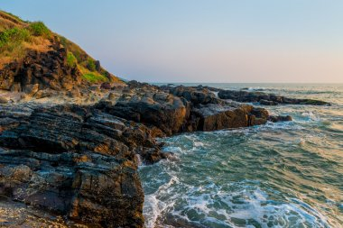 beautiful surf at the rocks of the Indian Ocean