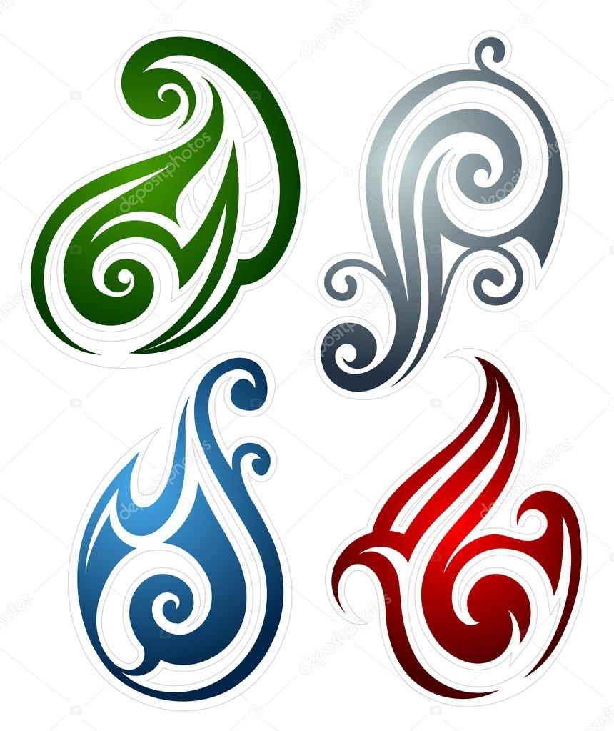 Fire Water Earth And Wind Emblems Stock Vector Akvlv 118344570