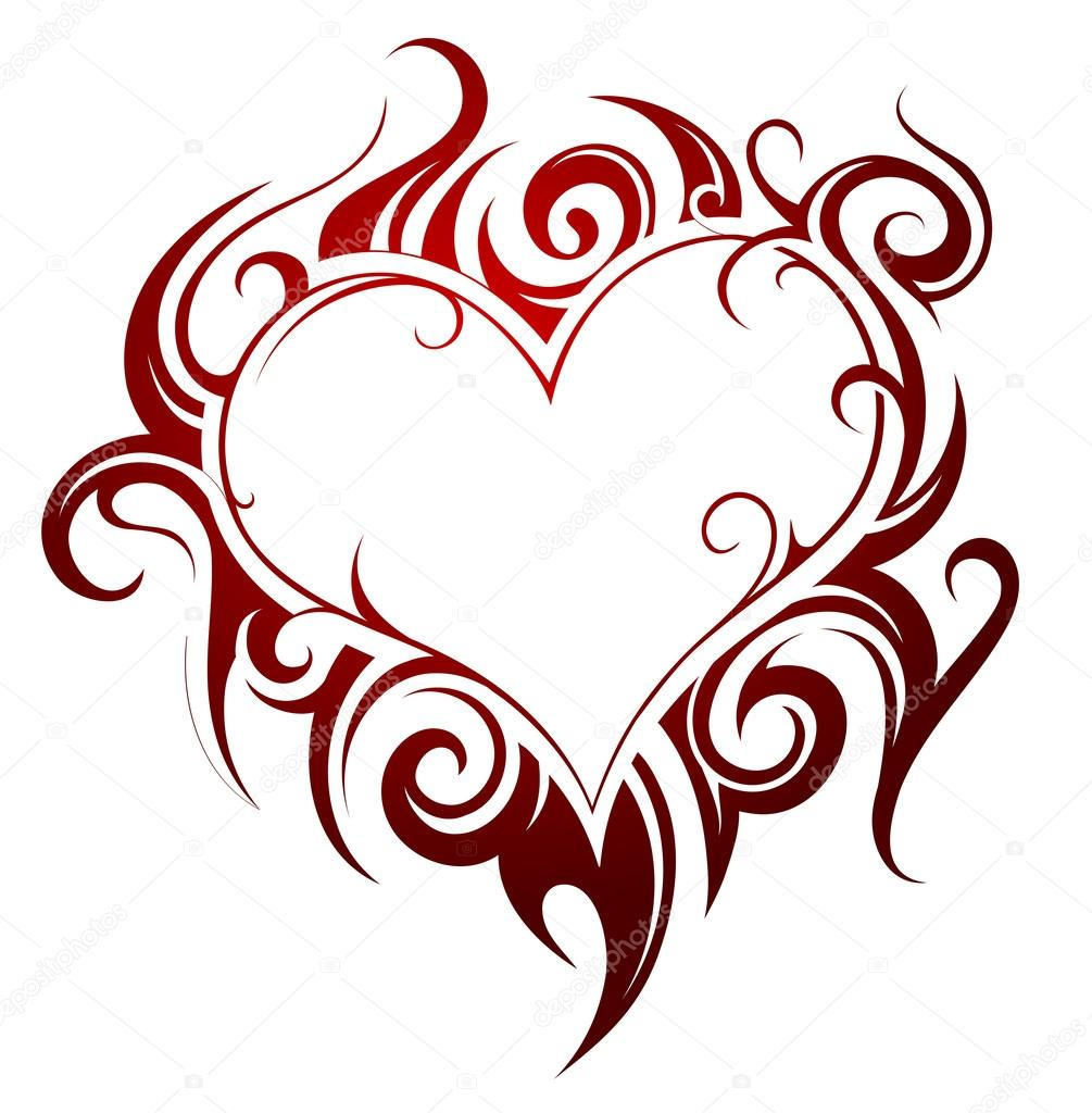Heart Shape Tattoo Stock Vector C Akv Lv 63866837