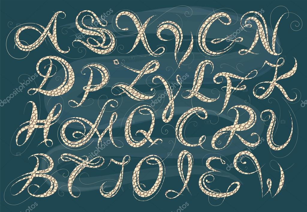 kalligraphie alphabet stockvektor akv lv 82928828. Black Bedroom Furniture Sets. Home Design Ideas