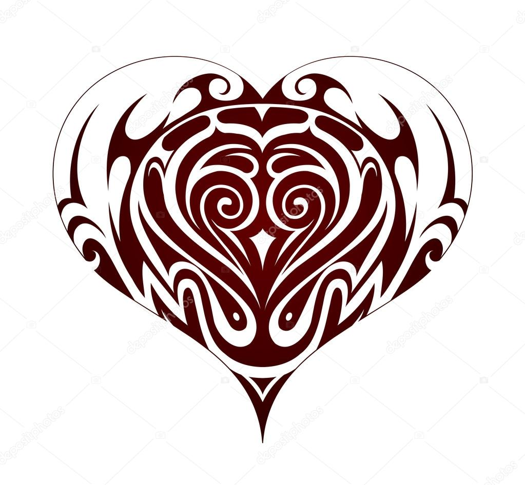 Tribal Heart Shape Tattoo On White Backdrop Premium Vector In Adobe Illustrator Ai Ai Format Encapsulated Postscript Eps Eps Format